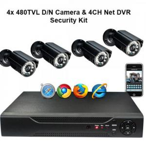 4CH Net DVR & 4x 480TVL D/N Camera Security Kit Mobile Support