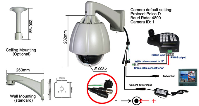 480TVL Sony CCD 264X Zoom PTZ Outdoor High Speed Dome Camera | 7 ...