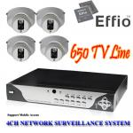 4Ch Full-D1 650TVL Sony Effio-E IR-Array D/N Security System Kit