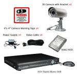 4Ch 420TVL 500GB Home Security System Kit with Free Warning Sign