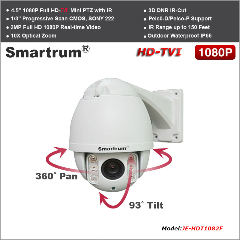 NEW 2MP 1080P Mini HD-TVI Outdoor IR PTZ Speed Dome// 10X Optical Zoom